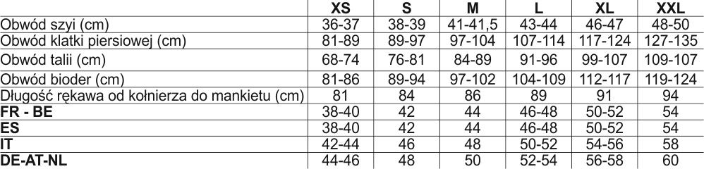 9b93479e0acbbf Tabela rozmiarów Columbia - Outdoor Sklep