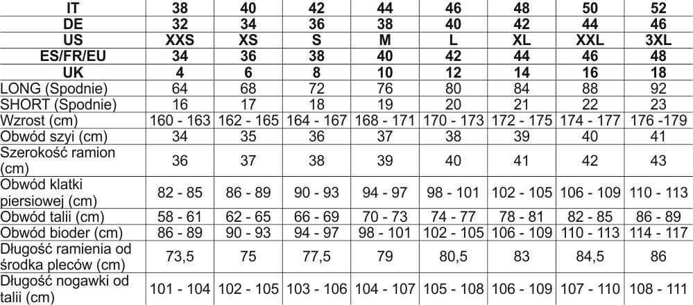 f95d422be042f8 Tabela rozmiarów Salewa - Outdoor Sklep